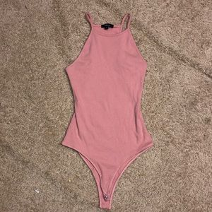 Pink high-neck tank top body suit